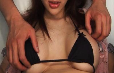 Mai Uzuki big boobies groped through her black string bikini. Japanese beauty Mai Uzuki