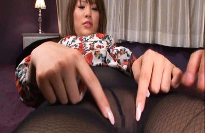 Kaera Uehara Asian is touched over stockings in front of mirror. Japanese beauty Kaera Uehara