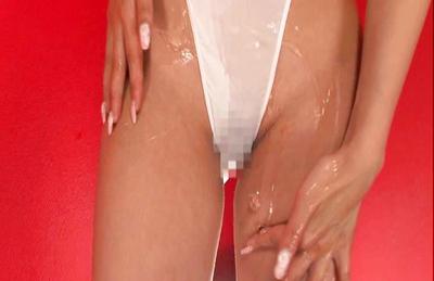 Kaera Uehara Asian puts lotion on her big hooters under white nylon. Japanese beauty Kaera Uehara