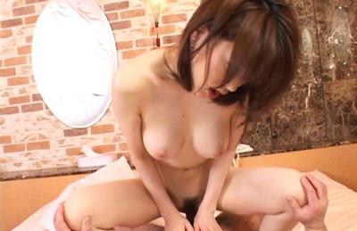 Akari Hoshino riding his rod and having her curvy hips grabbed. Japanese beauty Akari Hoshino