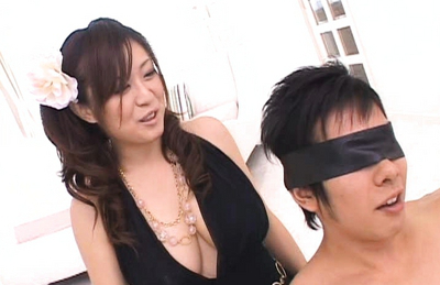 Nana Aoyama pulls dress apart to reveal her massive melons