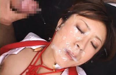 Nana Aoyama gets jism all over her face and big natural knockers. Japanese beauty Nana Aoyama