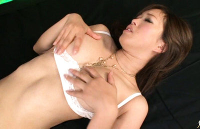 Emiri Senoo hot Asian girl rubs assets and demonstrates twat close up. Japanese beauty Emiri Senoo
