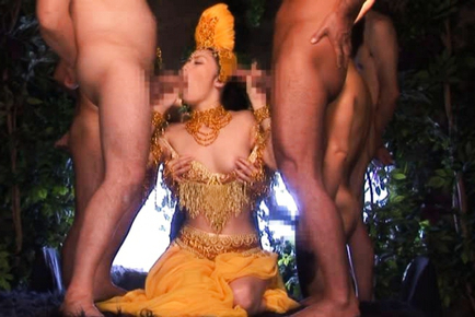 Tsubomi Showgirl has four hunks feeling her up and poking sissy. Japanese beauty Tsubomi