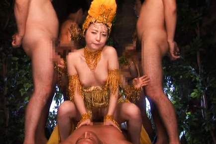 Tsubomi Showgirl has four dudes feeling her up and poking quim. Japanese beauty Tsubomi