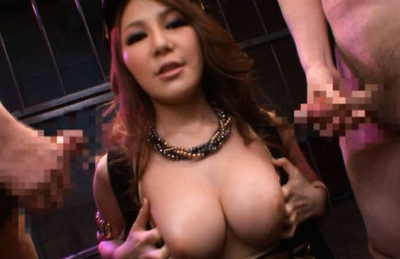Mihono Tsukimoto big titted Asian on her knees sucking their boners. Japanese beauty Mihono Tsukimoto