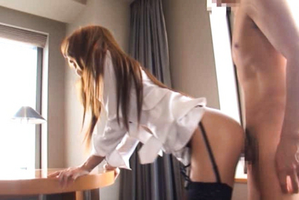 Sana gives a blowjob before being bent over for doggy style sex. Japanese beauty Sana