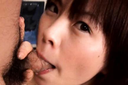 Ran Monbu sucking two men at the same time in this video. Japanese beauty Ran Monbu