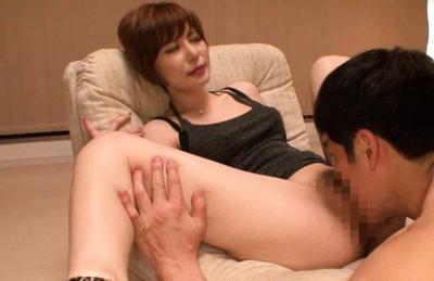 Yuria Satomi Asian in black top gets vibe and tongue on vulva. Japanese beauty Yuria Satomi