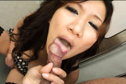 Asami Yoshikawa drops to her knees and sucks a stranger´s stud. Japanese beauty Asami Yoshikawa