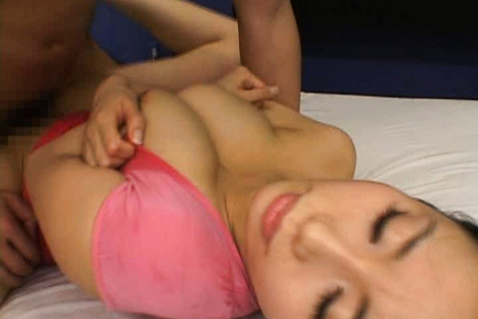Hina Hanami bends her knees and lifts her legs to let him pound. Japanese beauty Hina Hanami