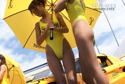 Japanese AV Model gets a wet cunt while by a race car. Japanese beauty Japanese AV Model