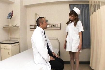 Aya Asian nurse enjoys giving head and getting reamed at work. Japanese beauty Aya