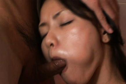Kaede Matushima gets pumped in her mouth by a big Asian hose. Japanese beauty Kaede Matushima