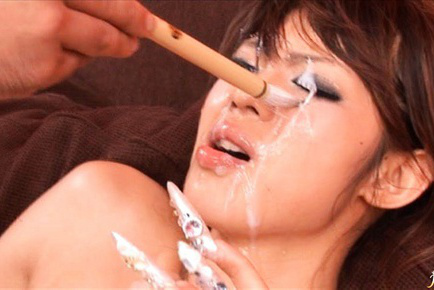 Rukia Mochizuki Hotty has a bukkake party and face is seed covered. Japanese beauty Rukia Mochizuki