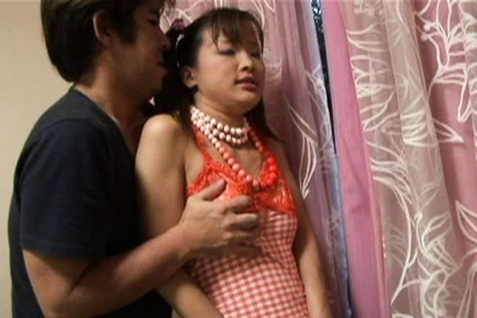 Seira Takahashi gives blowjob with her shaved vagina exposed. Japanese beauty Seira Takahashi