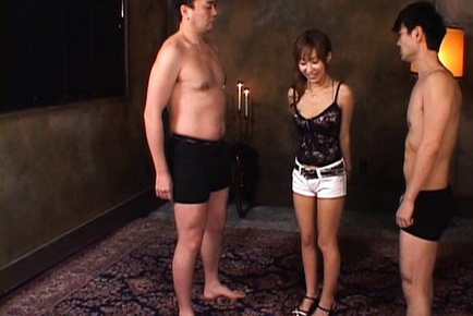 Yurika Momose Asian punished to suck two men´s snakes, one by one. Japanese beauty Yurika Momose