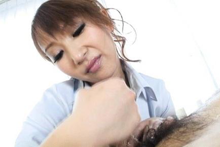 Anna Mizukawa Asian in white shirt stroking penis so rubbing. Japanese beauty Anna Mizukawa