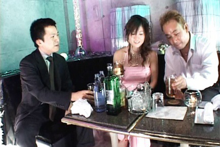 Moe Ousawa Asian is ready to get spunk on elegant dress from mans. Japanese beauty Moe Ousawa