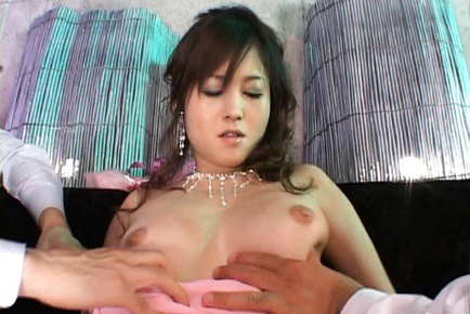 Moe Ousawa Asian with fine jewelry sucking  two hoses same time. Japanese beauty Moe Ousawa