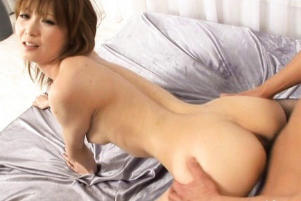 Rika Sakurai Asian with red stockings has semen between arse cheeks. Japanese beauty Rika Sakurai