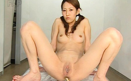 Ueda Misaki Asian with spread legs has her holes filled with toys
