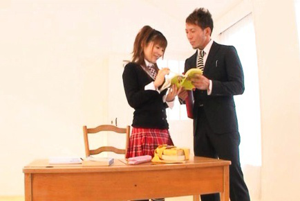 Saki Yuzumoto Asian is touched on cunt under skirt by teacher. Japanese beauty Saki Yuzumoto