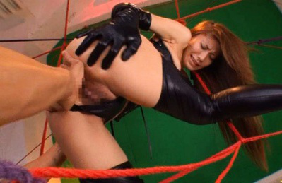 Sana Asian doll is tied with legs spread for a hot labia touching. Japanese beauty Sana