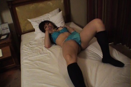 Shizuku Asian in black socks has blue thong arousing brown fuckhole. Japanese beauty Shizuku
