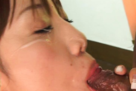 Rika Koizumi Asian has cum splashed on eyes after sucking phallus. Japanese beauty Rika Koizumi