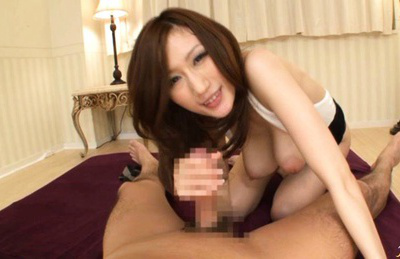 JULIA Asian doll with huge cans rides erection after she sucked it. Japanese beauty JULIA