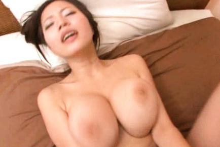Ruri Saijo Asian with huge boobs and legs open sucks dick in 69. Japanese beauty Ruri Saijo
