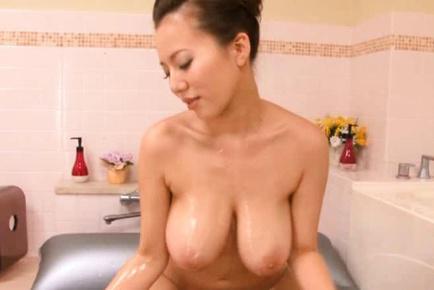 Ruri Saijo Asian with lotioned huge tits teases wang with hole. Japanese beauty Ruri Saijo