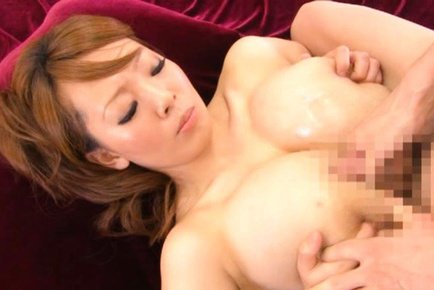Hitomi Tanaka Asian in leather outfit plays with immense knockers. Japanese beauty Hitomi Tanaka