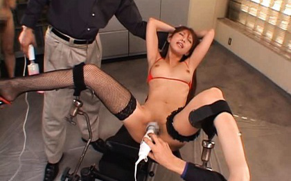 Riri Asian with black stockings is toied and gets vagina teased. Japanese beauty Riri