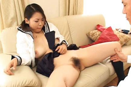 Yukari Iida Asian in sailor uniform has her knockers squeezed by guy. Japanese beauty Yukari Iida