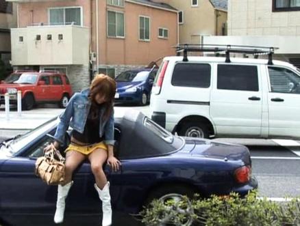 Japanese AV Model has cunt teased sitting with rear inside car. Japanese beauty Japanese AV Model