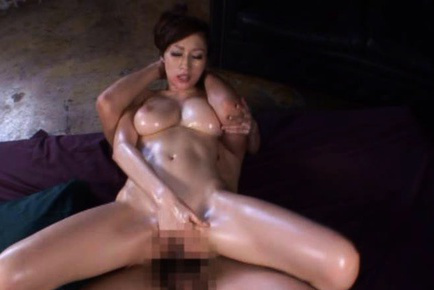 JULIA Asian doll with oil on body rides woody and strokes another