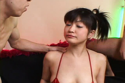 Yukina Ishikawa Asian in red bra gets two wangs in mouth to suck. Japanese beauty Yukina Ishikawa