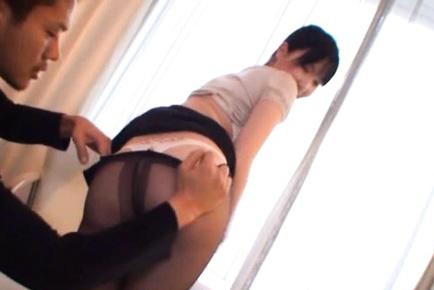 Japanese AV Model has stockings taken off and rack touched. Japanese beauty Japanese AV Model