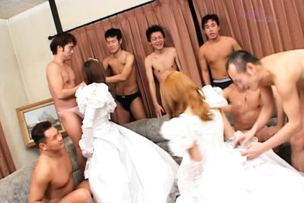 Yuri Terao Asian and hottie are two brides undressing for boyfriends. Japanese beauty Yuri Terao