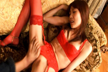 Ibuki Asian in red lingerie has twat touched with toes by hunk. Japanese beauty Ibuki