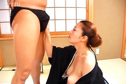 Japanese AV Model with naughty cans exposed gives fine blowjob. Japanese beauty Japanese AV Model