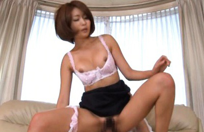 Yuna Hasegawa Asian with hooters out of bra gets two hoses in holes. Japanese beauty Yuna Hasegawa