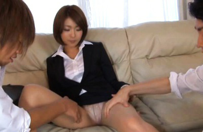 Yuna Hasegawa Asian in office suit touches her snatch  over stockings