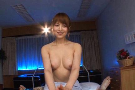 Akiho Yoshizawa fondles phallus between boobs and licks it before bang. Japanese beauty Akiho Yoshizawa