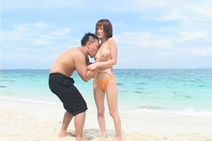 Rio Kitajima Asian has cans aroused over and without bra on beach. Japanese beauty Rio Kitajima