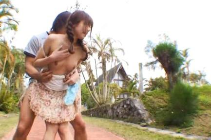 Rina Rukawa Asian topless is pounded from behind in house front. Japanese beauty Rina Rukawa