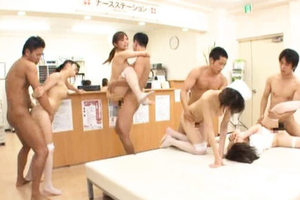 Japanese AV Model and nurses are pounded all over the place by men