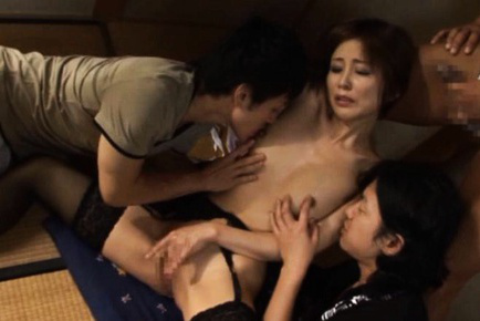 Japanese AV Model has hooters sucked and legs kissed by hunks